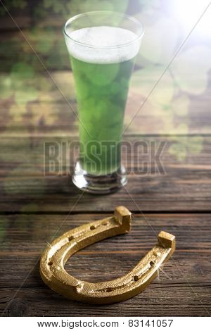 Green Beer And Horseshoe