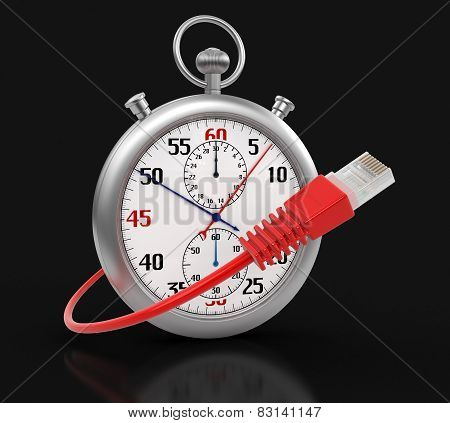 Stopwatch and Computer Cable (clipping path included)