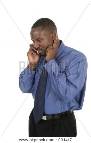 Handsome Business Man Takes a Cell Call