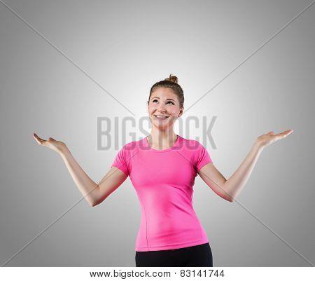 Smiling cute woman juggling