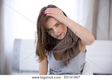 Woman having Headache. Sick. Flu