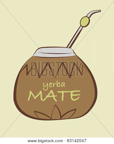 Vector illustration of yerba Mate, Calabash with Bombilla in tribal style