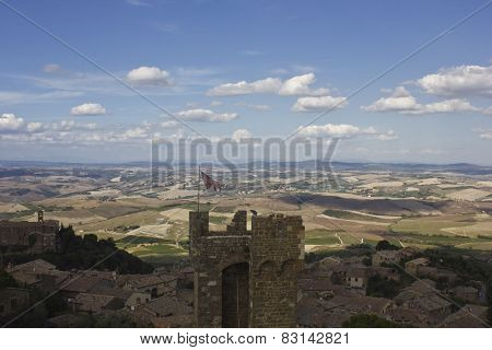 View Of Montalcino City And Amazing Tuscany Countryside