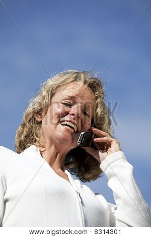 woman phoning with cellphone