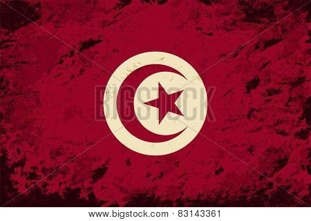 Tunisian flag. Grunge background. Vector illustration