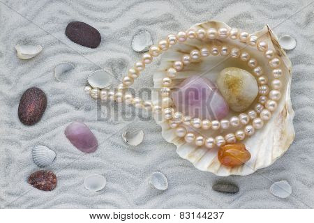 Necklace From Pink Pearls