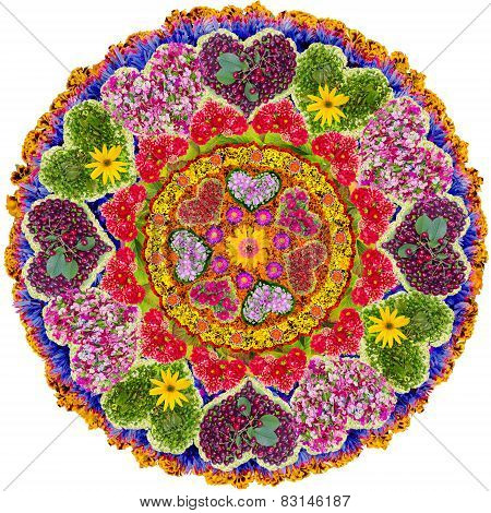Isolated Floral Love Mandala