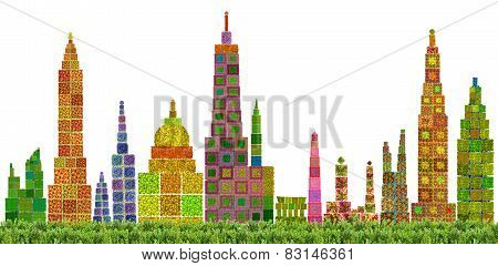 Abstract Floral City Skyline