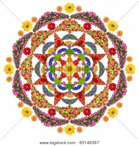 Isolated Floral Happiness Mandala
