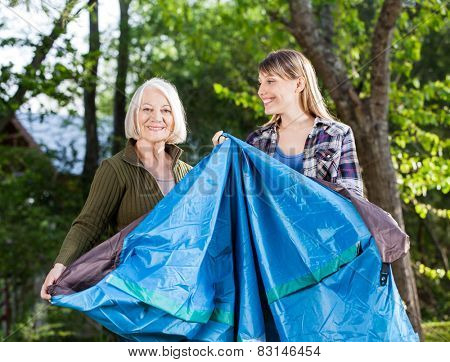 Portrait of happy mother with daughter making tent in park at campsite
