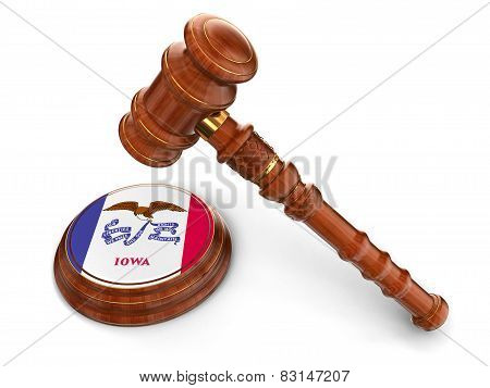 Wooden Mallet and flag Of iowa (clipping path included)