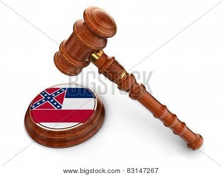 Wooden Mallet and flag Of Mississippi (clipping path included)