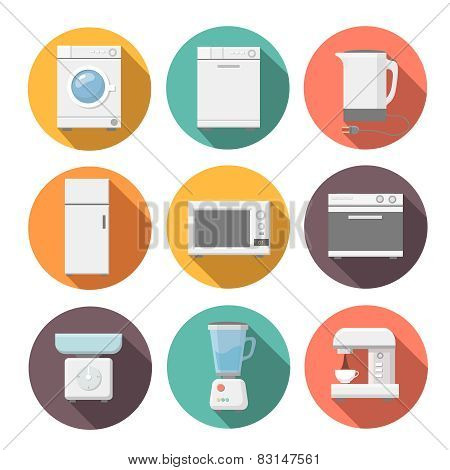 Set of household appliances flat icons on colorful round web buttons with a washing machine. microwa
