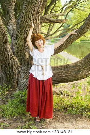 Woman And Willow Tree