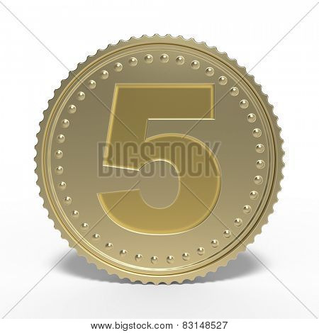 Golden number 5 isolated on white background