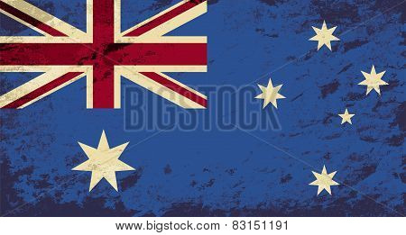 Australian flag. Grunge background. Vector illustration