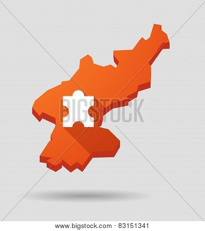 North  Korea Map With A Puzzle Piece
