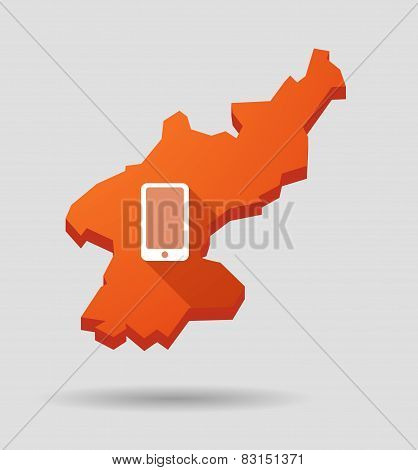 North  Korea Map With A Phone Sign