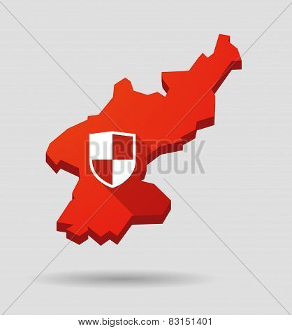 North  Korea Map With A Shield