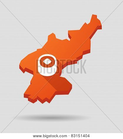 North  Korea Map With A Sushi