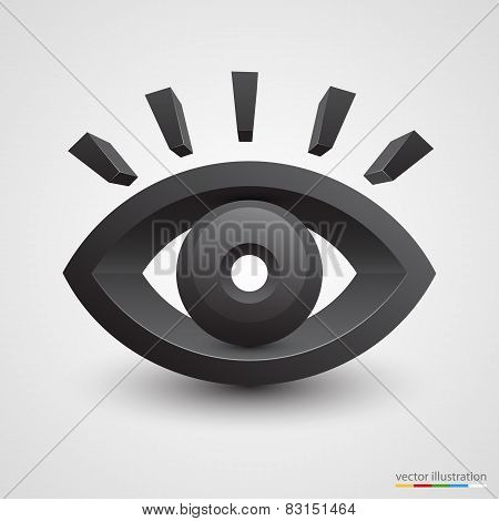 Three-dimensional black eye on white background