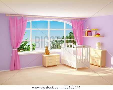 Baby room With Big Window 3D illustration