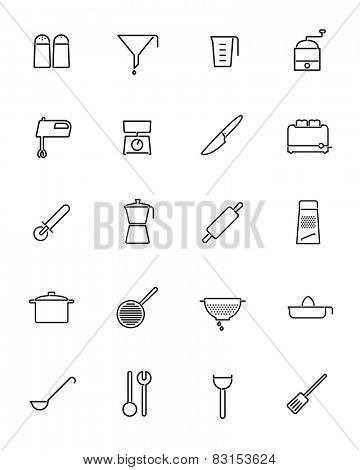 Cooking utensils and appliances Vector Line Icons Collection. Set of 20 kitchen and cooking related line icons