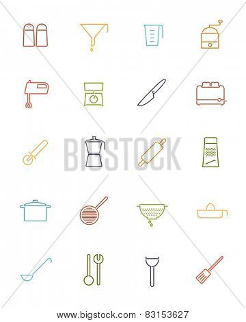 Cooking utensils and appliances Vector Line Icons Collection. Set of 20 kitchen and cooking related colored line icons