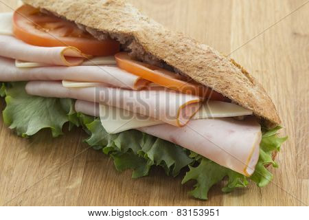 sandwich filled with salami