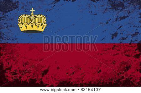 Liechtenstein flag. Grunge background. Vector illustration