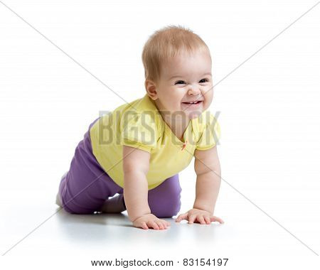 happy crawling baby isolated on white