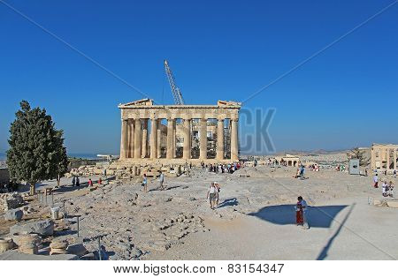 Tourists In Famous Old City Acropolis Parthenon Temple