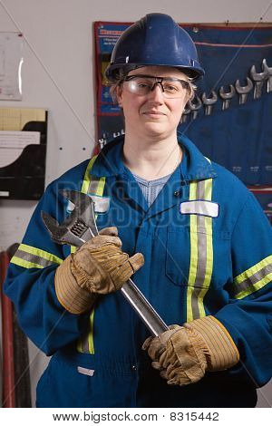 Woman With Big Wrench