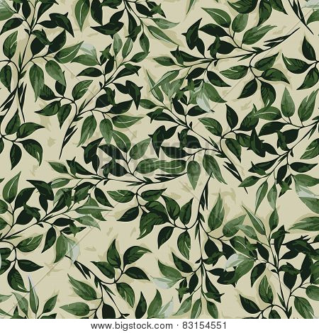 Seamless Floral Pattern With Ficus Leaves