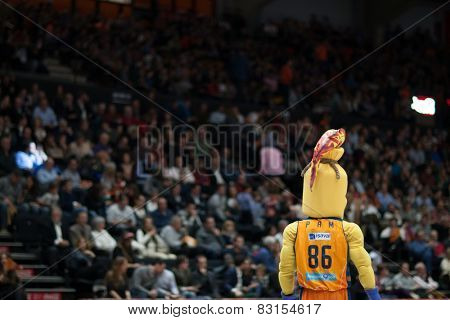 VALENCIA, SPAIN - FEBRUARY 15: Pam is mascot of Valencia during Spanish League match between Valencia Basket Club and Real Madrid at Fonteta Stadium on February 15, 2015 in Valencia, Spain
