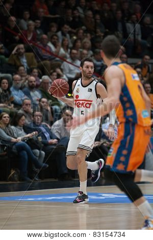 VALENCIA, SPAIN - FEBRUARY 15: Rudy with ball during Spanish League match between Valencia Basket Club and Real Madrid at Fonteta Stadium on February 15, 2015 in Valencia, Spain