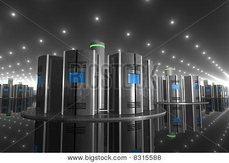 Servidor de computadora 3D en una sala de alta tecnología