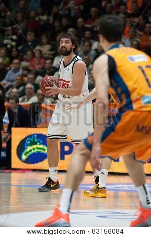 VALENCIA, SPAIN - FEBRUARY 15: Llull during Spanish League match between Valencia Basket Club and Real Madrid at Fonteta Stadium on February 15, 2015 in Valencia, Spain