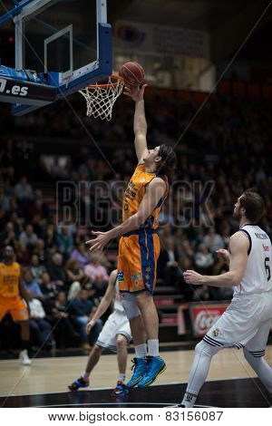 VALENCIA, SPAIN - FEBRUARY 15: Loncar during Spanish League match between Valencia Basket Club and Real Madrid at Fonteta Stadium on February 15, 2015 in Valencia, Spain