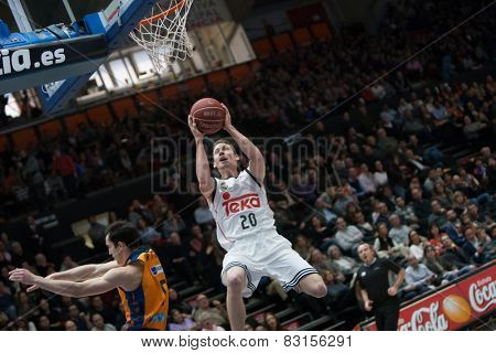 VALENCIA, SPAIN - FEBRUARY 15: Carroll during Spanish League match between Valencia Basket Club and Real Madrid at Fonteta Stadium on February 15, 2015 in Valencia, Spain