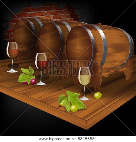 Wine Cellar With Wine From The Barrel