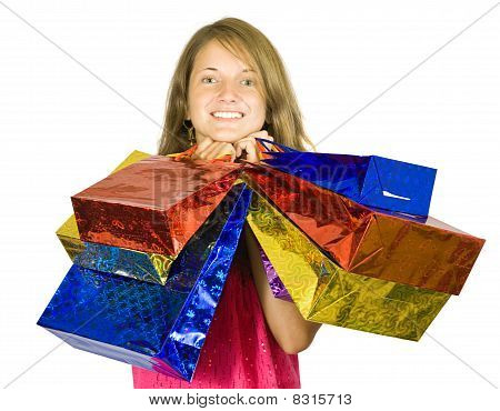 Happy Teen Girl Holding Shopping Bags
