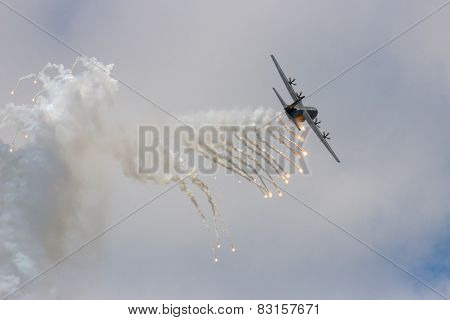 C-130 Hercules Firing Off Flares