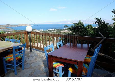 Table And Chairs In A Typical Tavern  Crete Greece