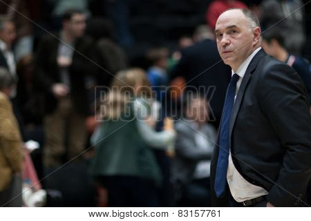 VALENCIA, SPAIN - FEBRUARY 15: Pablo Laso during Spanish League match between Valencia Basket Club and Real Madrid at Fonteta Stadium on February 15, 2015 in Valencia, Spain