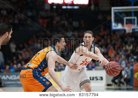 VALENCIA, SPAIN - FEBRUARY 15: Carroll with ball during Spanish League match between Valencia Basket Club and Real Madrid at Fonteta Stadium on February 15, 2015 in Valencia, Spain