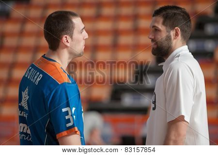 VALENCIA, SPAIN - FEBRUARY 15: Aguilar (L), Reyes (R) during Spanish League match between Valencia Basket Club and Real Madrid at Fonteta Stadium on February 15, 2015 in Valencia, Spain