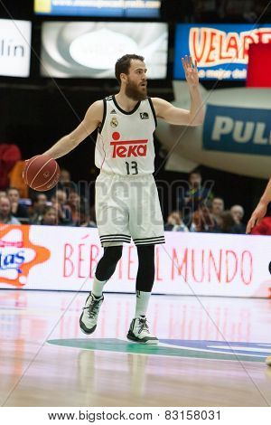 VALENCIA, SPAIN - FEBRUARY 15: Rodriguez with ball during Spanish League match between Valencia Basket Club and Real Madrid at Fonteta Stadium on February 15, 2015 in Valencia, Spain