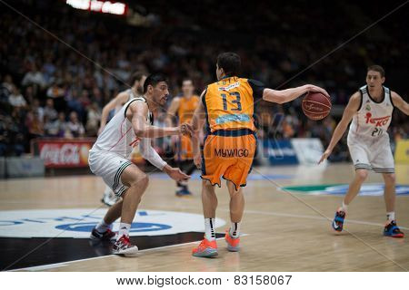 VALENCIA, SPAIN - FEBRUARY 15: Lucic with ball during Spanish League match between Valencia Basket Club and Real Madrid at Fonteta Stadium on February 15, 2015 in Valencia, Spain