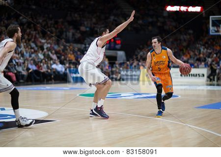 VALENCIA, SPAIN - FEBRUARY 15: Ribas with ball during Spanish League match between Valencia Basket Club and Real Madrid at Fonteta Stadium on February 15, 2015 in Valencia, Spain